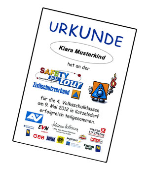 Safety Tour Urkunde